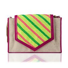 Amber jute flap hand bag